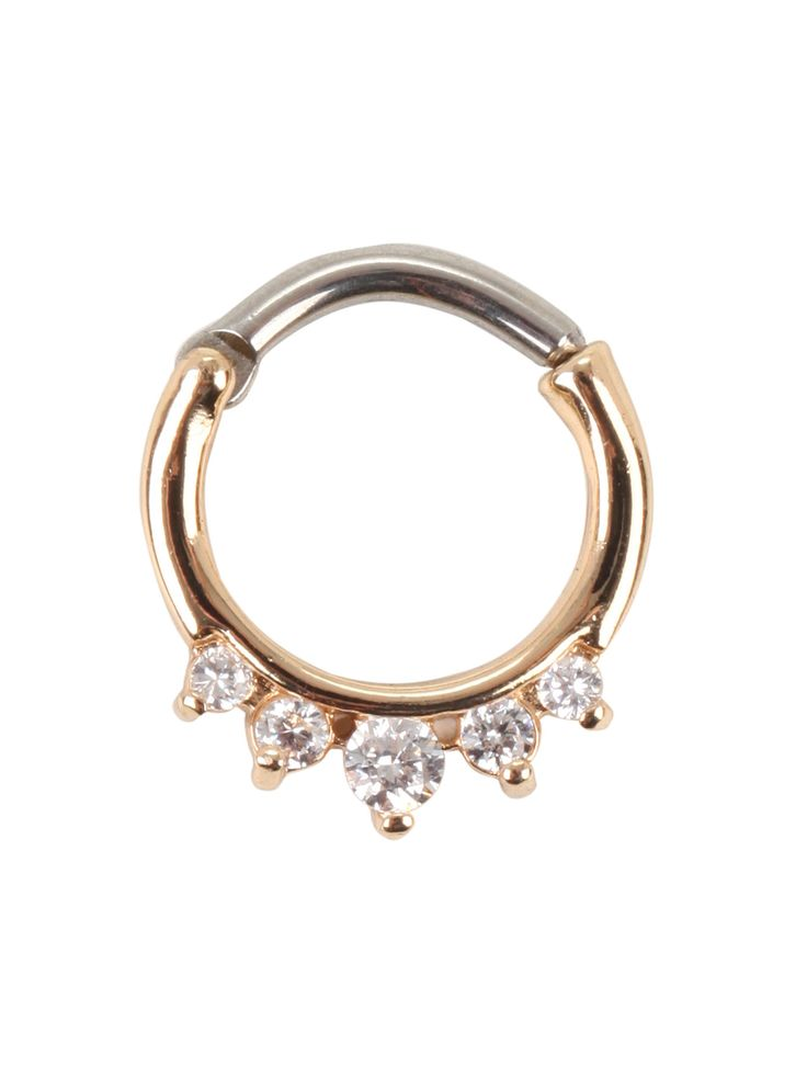 <p>We nose you will love this. Okay, too easy. Channel your inner dark princess with this gold tone septum piercing with sparkling CZ stones.</p>  <ul> 	<li>316L surgical steel</li> 	<li>Imported</li> </ul>