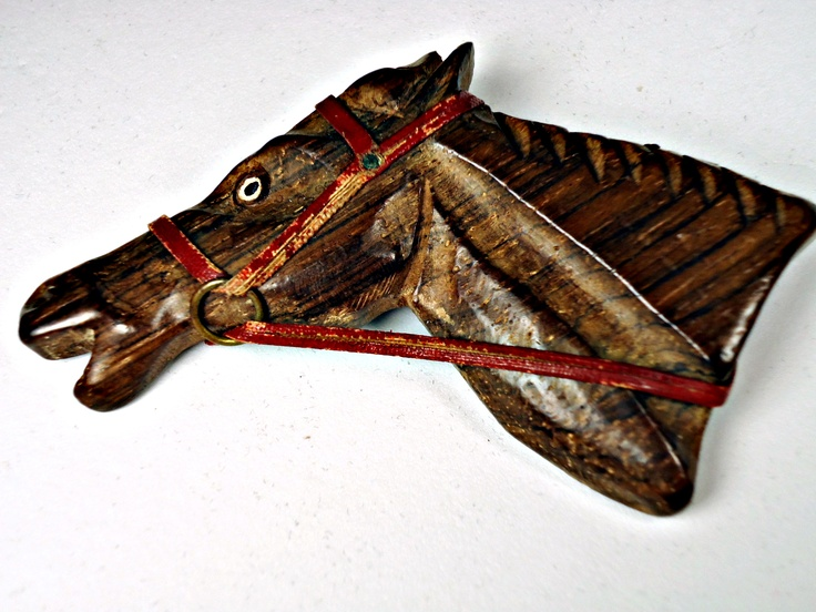 Wooden Horse Pin with Red Bridle, $60