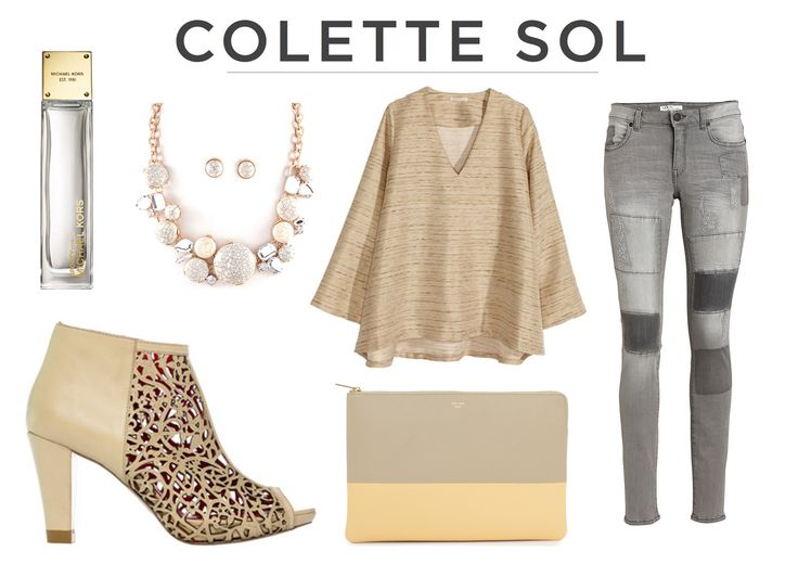 Laser Cut Taupe Bootie with a FAB peep toe! Paired with a classy outfit for cocktails on the beach. Colette Sol Glamour