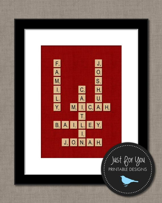 """Scrabble Tile Wall Art Printable - Family Names or Words - YOU PRINT (Digital File) 8x10"""" on Etsy, £9.69"""