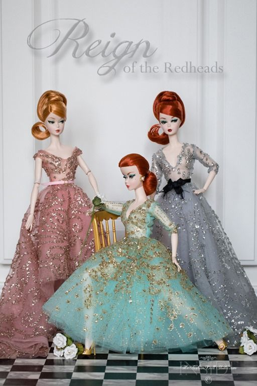 Models: (from left to right) 2016 Japan Barbie Convention doll,Black and White Tweed Suit Silkstone Barbieand 2016 Paris Fashion Doll Festival Barbie-Reign of the Redheads
