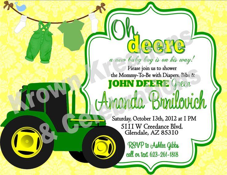 17 Best images about John Deere Baby Shower – Printable John Deere Birthday Invitations