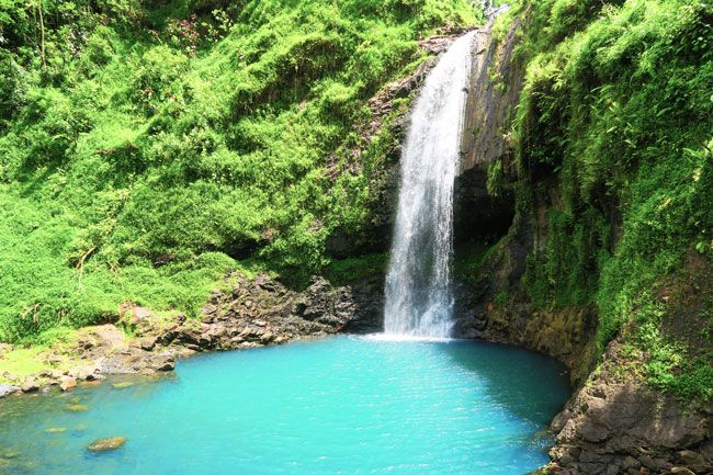 A waterfall deep in the Papenoo Valley of Tahiti Island