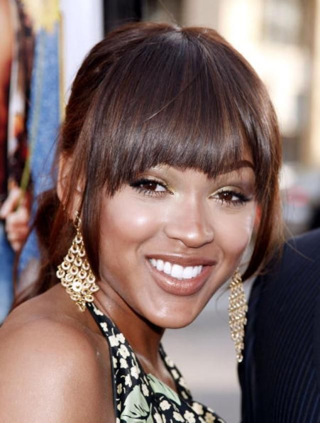Flattering Hairstyles by Face Shape: Meagan Good's Good Bangs