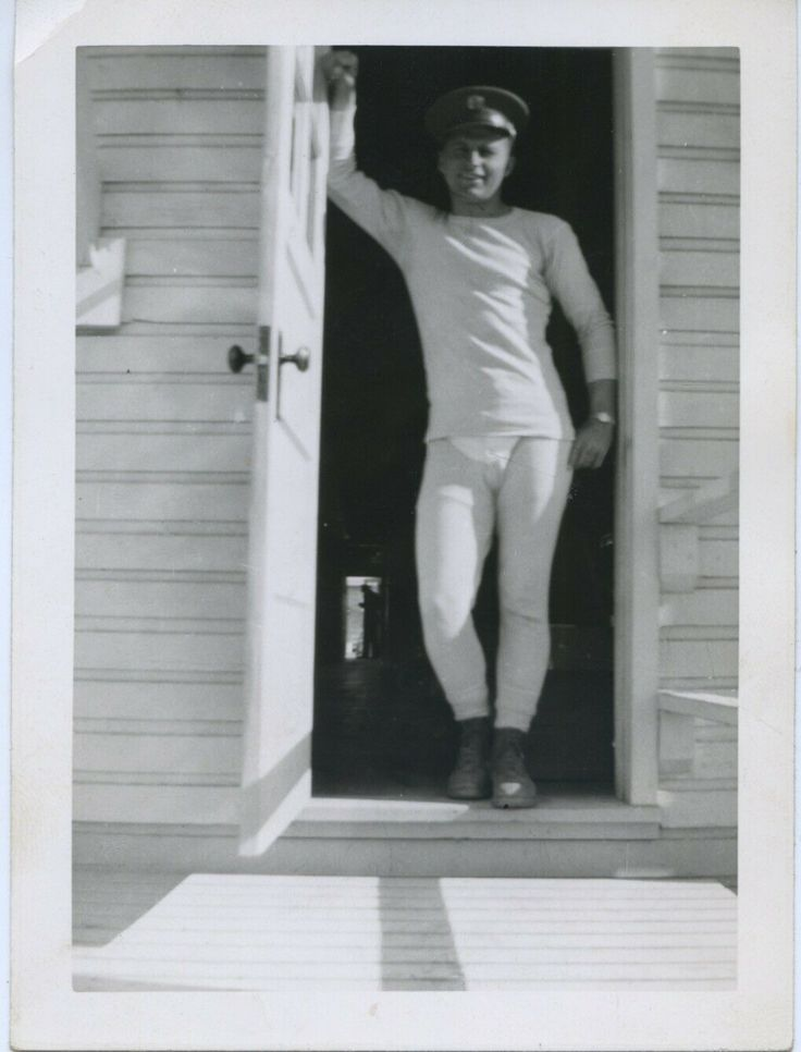 "Vintage photo. SHAPELY SOLDIER IN LONG JOHN UNDERWEAR. ""HOT STUFF"" gay interest"