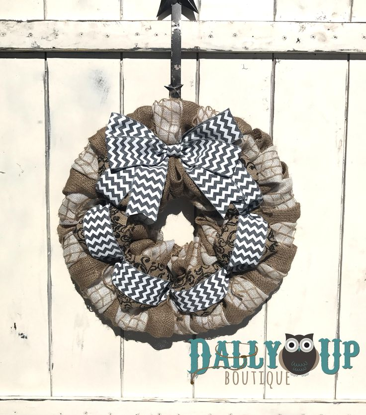 Chevron Wreath, Everyday Wreath, Natural and Cream  with Gray Chevron Burlap Wreaths, Wreath for All Year, Welcome Wreath, Decor by DallyUpBoutique on Etsy
