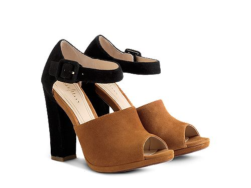 Cole Haan Chelsea Ankle Strap Open-Toe, camel and black with chunky