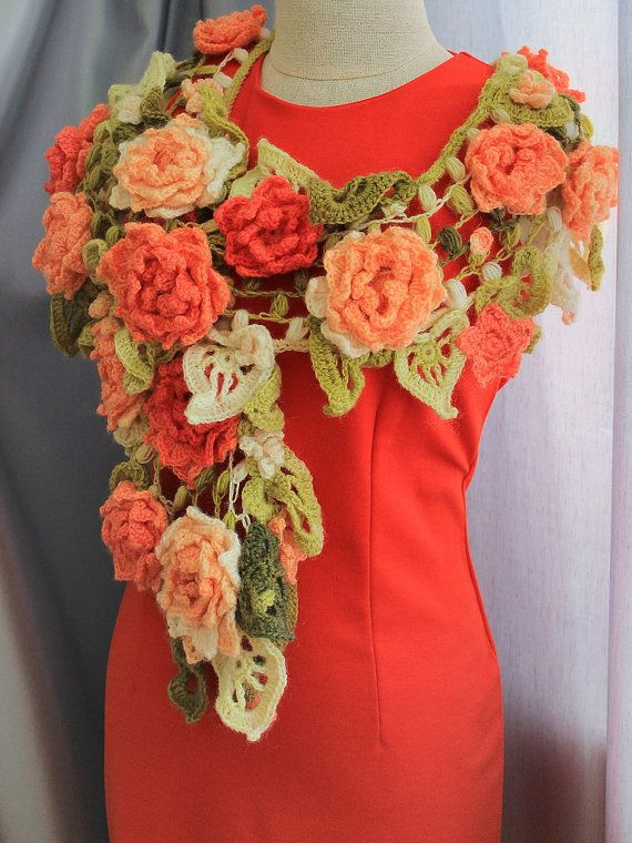 Crochet flower shawl, bohemian chic shawl, shrug bolero, long woman shawl, orange flower scarf, crocheted floral scarf, flower shawl This