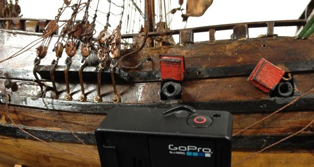 Scheepsmodel in Brielle vastgelegd met GoPro ActionCam, chroma key en op foto's voor interactief spel over de VOC.