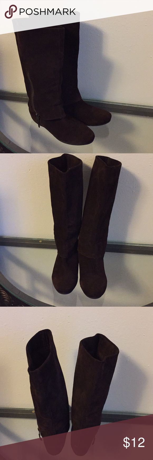 Steve Madden boots Steve Madden boots brown suede flat very stylish in great condition Steve Madden Shoes Over the Knee Boots