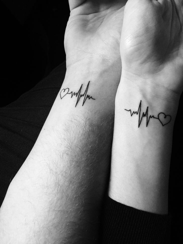 Couple heartbeat tattoo