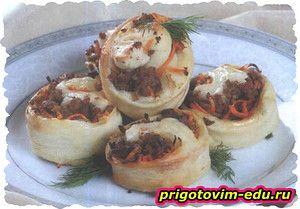 Рулетики со свининой и корейской морковью