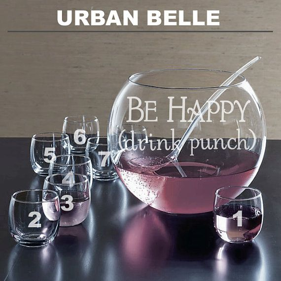 Be Happy Drink Punch  10 Piece Punch Bowl Set by UrbanBelleCouture, $98.00