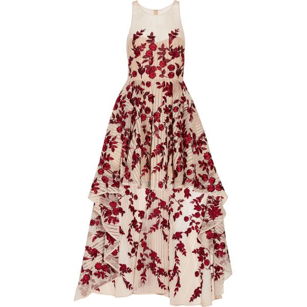 Marchesa Notte - Asymmetric Embroidered Striped Organza Gown ($518) ❤ liked on Polyvore featuring dresses, gowns, neutral, red vintage dress, vintage evening gowns, striped dress, burgundy dress and red evening gowns