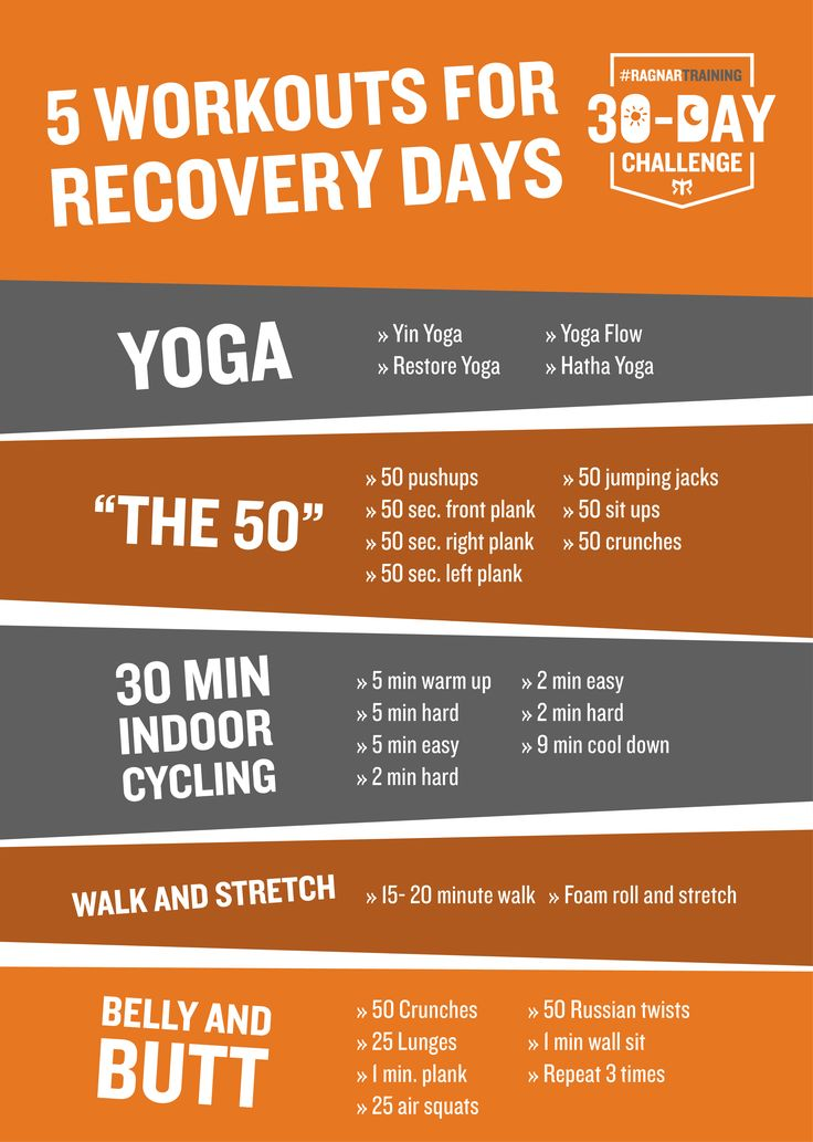 Some days, you need to rest. Here are workouts for your recovery days.