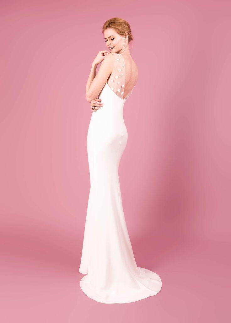 Modern wedding dress for the contemporary bride. Bella dress - Muscat Bridal. Bias cut silk morocain dress with 3d flower embroidery.