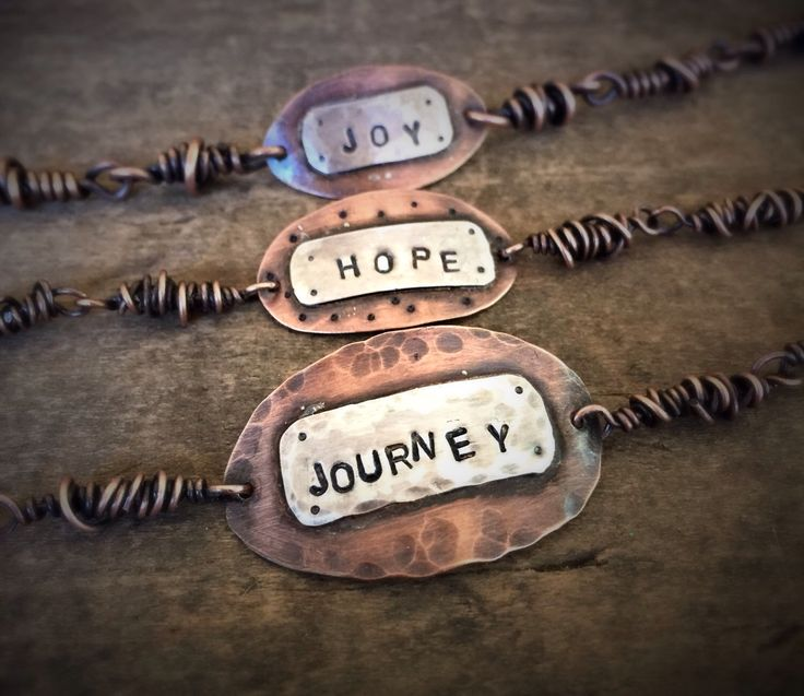 Journey Copper and Silver Quote Bracelet, Mixed Metal Jewlery by OldeDogNewTricks on Etsy https://www.etsy.com/listing/251466878/journey-copper-and-silver-quote-bracelet