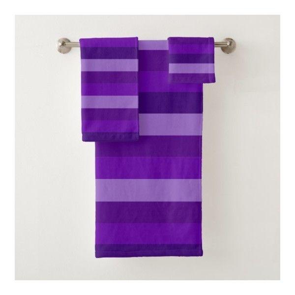 Shades Of Purple Stripes Bath Towel Set 56 Liked On Polyvore