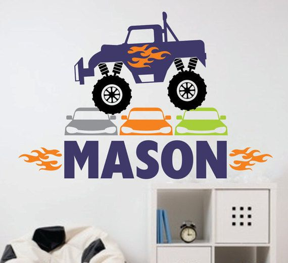 Monster truck decal personalized name truck wall decal monster truck boy wall decals name sticker nursery wall decals big truck art