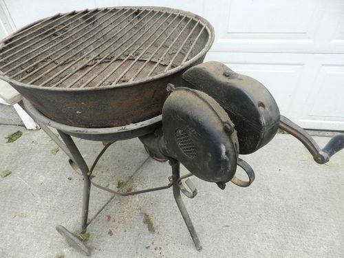 Vintage Champion Blacksmithing Forge Blower Charcoal Coal Grill Setup   eBay
