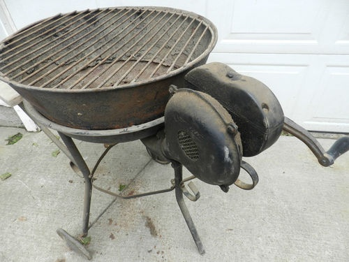 Vintage Champion Blacksmithing Forge Blower Charcoal Coal Grill Setup | eBay