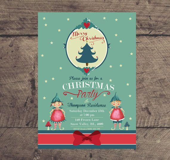 Christmas Elves Printable Custom Christmas Party by louandboo