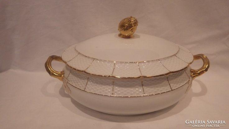 Csupa arany porcelán leveses tál