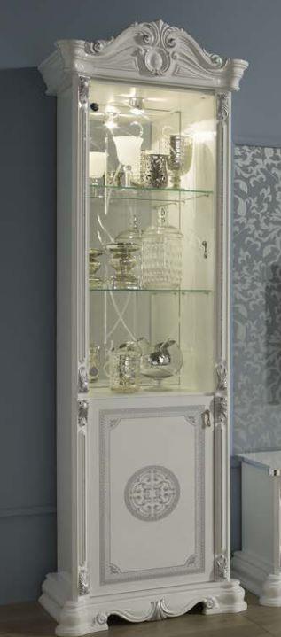 Geena White High Gloss Italian Made 1 Door Display Cabinet