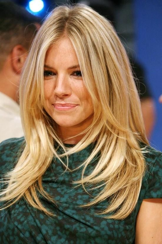 Sienna Miller long hair layers, I need to be brave and part my hair in the middle.