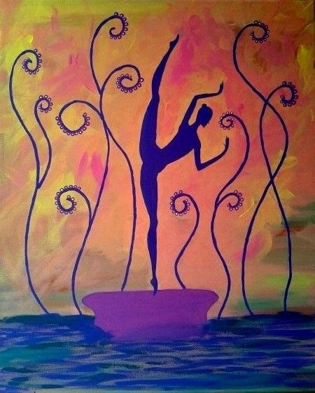 There was a dancer.  By Ieva Krivma. Acrylic. 50x60 cm. Pressed cardboard