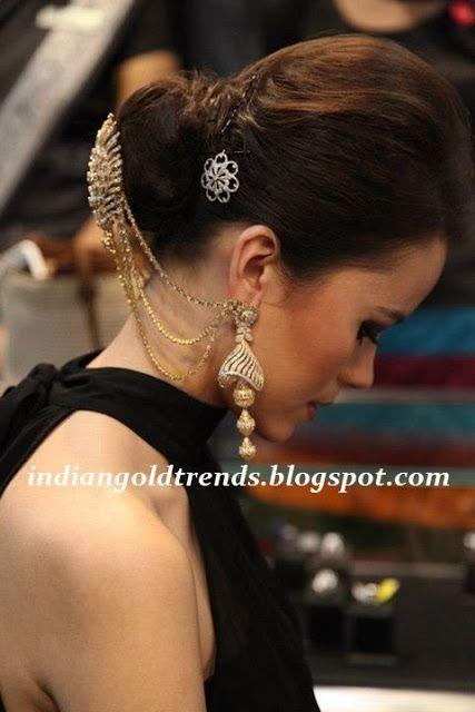Latest Indian Gold and Diamond Jewellery Designs: Diamond head accessories and contemporary diamond jhumkas