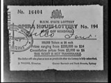 APA studio photograph of Mr. Kentwell's Hitco Four syndicate winning Opera House Lottery ticket (lottery no. 194, ticket 16404) which won Two hundred thousand dollars by Ted Grant