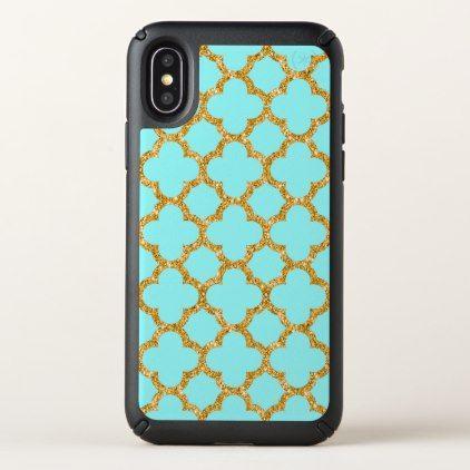 Modern Faux Gold Glitter Mosaic Quatrefoil Pattern Speck iPhone X Case - classy gifts vintage diy ideas