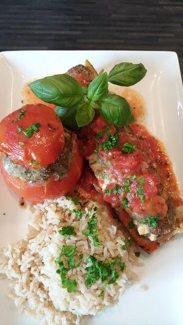 Dominique's kitchen: Opgevulde tomaat en courgette met bruine rijst