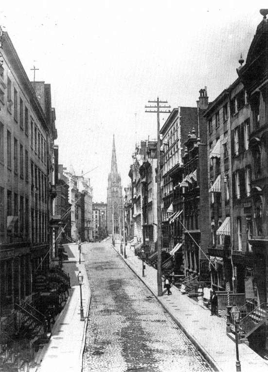 Wall Street, New York, ca. 1878. ~ Fascinating Photo! Anyone familiar with Wall Street today will be amazed at this photo! What a difference!
