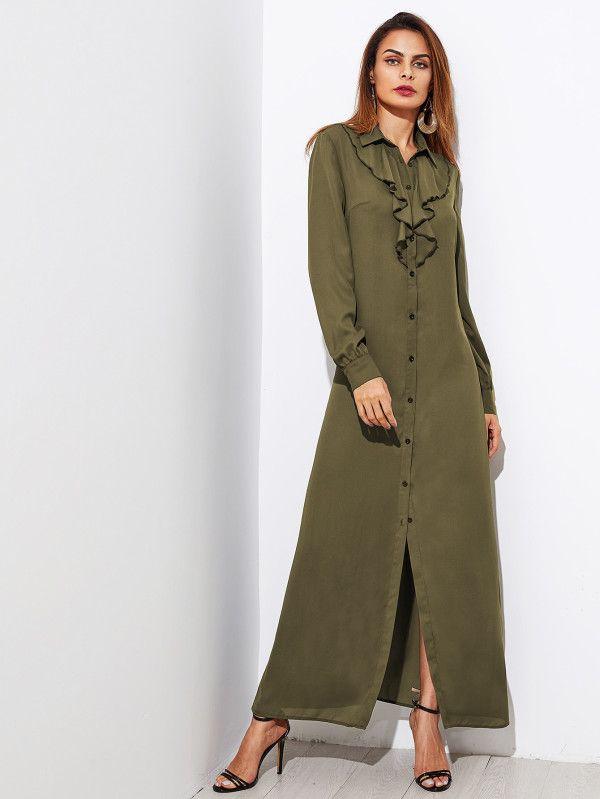 Flounce Trim Maxi Shirt Dress -SheIn(Sheinside)