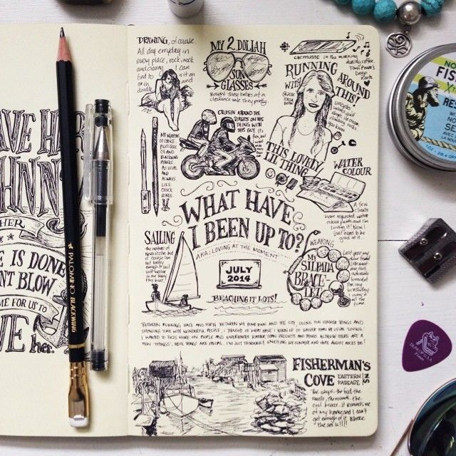 """beejaedee: """" what have I been up to? #sketch #drawing #art #illustration #tw #lettering #handlettering #type #typography #penandink #pendrawing #ink #moleskine #novascotia #journal #notebook #sketchnotes #sketchbook #artist #graphicdesign """""""