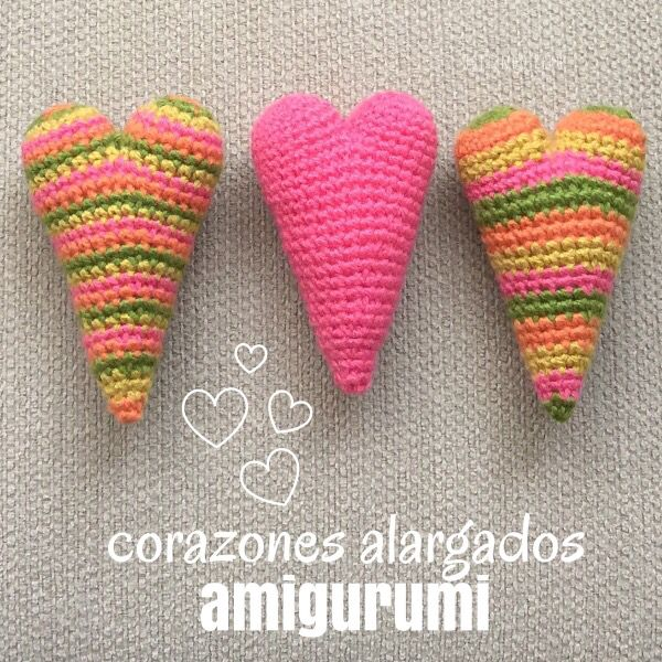 Corazones alargados amigurumi! Todo el paso a paso lo encuentran en este video: http://youtu.be/Hin0VlFmZw4 English subtitles video: amigurumi elongated hearts (country hearts!)