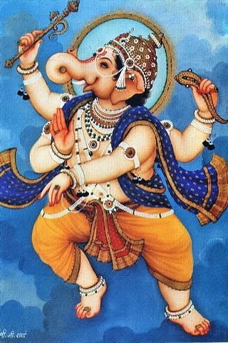 Ganesh- beautiful blue and orange colors.