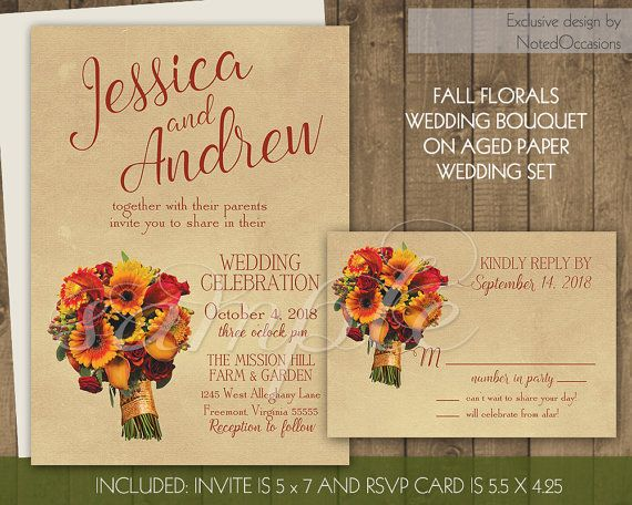Diy Autumn Wedding Invitations: 17 Best Images About Fall Wedding Invitations For Rustic