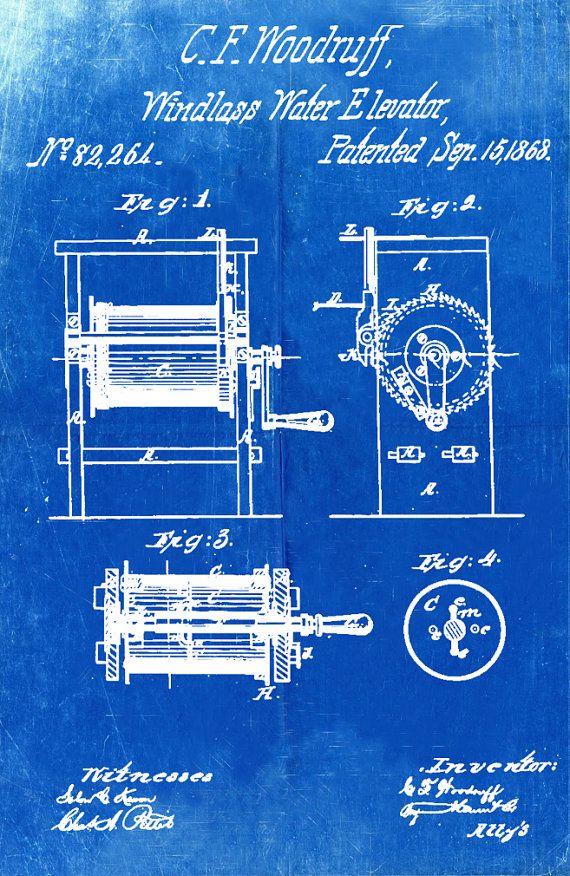 63 best blueprints technical drawings images on pinterest blueprint art of patent windlass water elevator by bigbluecanoe malvernweather Gallery