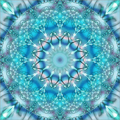 Poster Mandala Sicherheit mit Blume des Lebens - © Christine Bässler - Bildnr. 331539