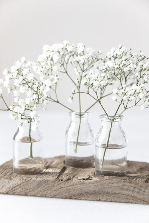 The cocktail tables will each have a clear bud vase filled with baby's breath.  simplicité simple thing nature fleur plantes vase transparence hygge automne hiver 2017 tendances trends nature neutre beige blanc
