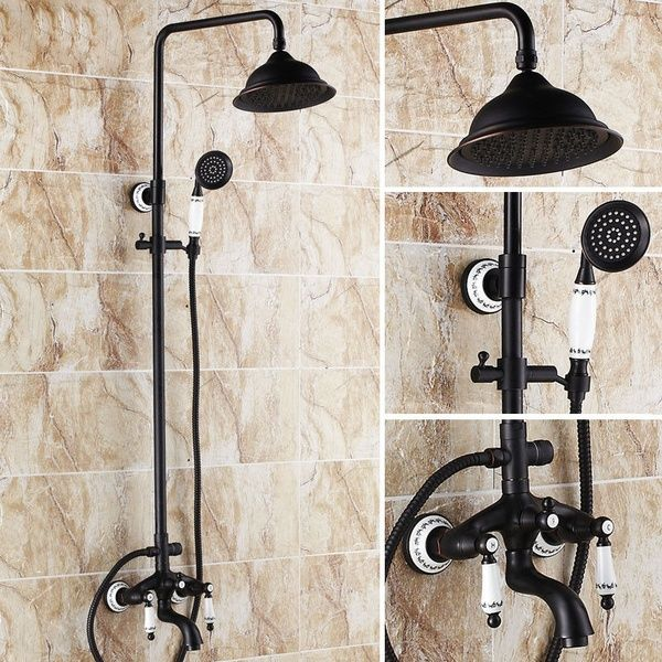 Rozin Oil Rubbed Bronze Bath Rain Shower Faucet Set Tub Mixer Tap