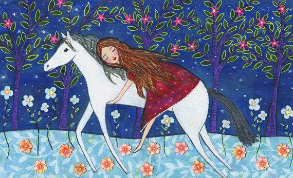 Cheval - Horse Art - Folk cheval - cheval-sticker - enfants Decor - pépinière Art de peinture