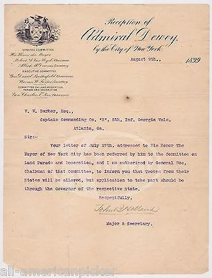 JOHN HOLLAND AUTOGRAPH SIGNED ADMIRAL GEORGE DEWEY NY MILITARY PARADE LETTER