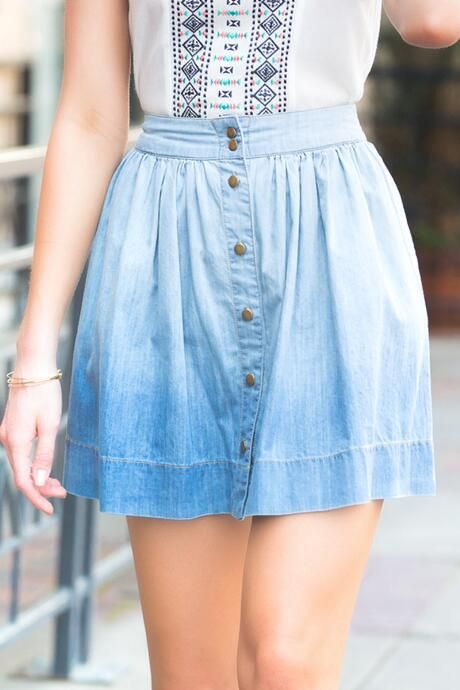 Laverne Buttoned Chambray Skirt #francescas