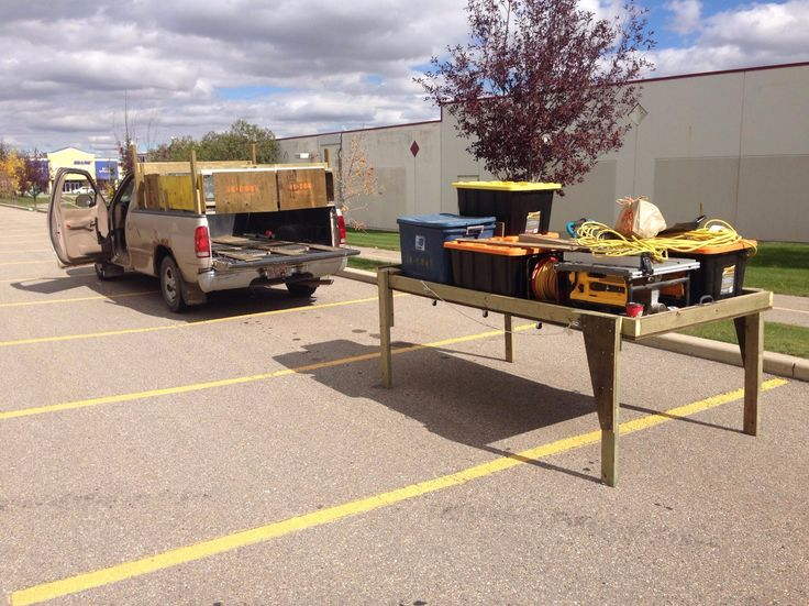 Free Standing Truck Bed Slide by Keith William Knull -- The slide itself is very simple. Just a 2x4 frame screwed to 5/8 pressure treated plywood. I then added fourteen 2inch casters to the underside of the tray. The addition of folding leg supports allows me to drop my cargo in less than 3 minutes. I'm not sure what the max. Weight capacity is but I know that all my tools are at least 400lbs and no sign of the table bowing, cracking,...