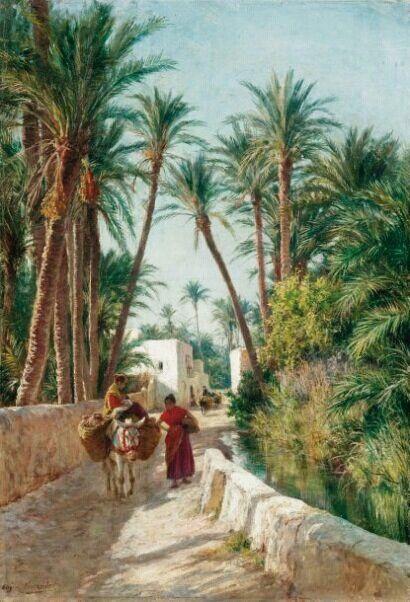 Algérie - Peintre Français, EugèneGirardet (1853-1907), huile sur toile, Titre : Dans la palmeraie