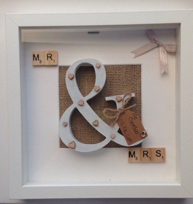 A personal favorite from my Etsy shop https://www.etsy.com/uk/listing/275723034/mrmrs-personalised-frame